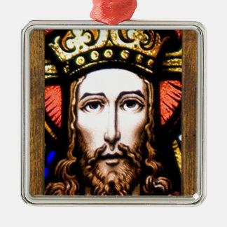 JESUS SACRED HEART  WOOD FRAME 13 CUSTOMIZABLE PRO SQUARE METAL CHRISTMAS ORNAMENT