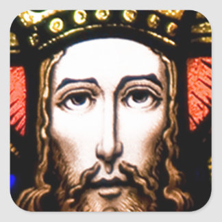 JESUS SACRED HEART  WOOD FRAME 13 CUSTOMIZABLE PRO SQUARE STICKER