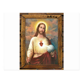 JESUS SACRED HEART  WOOD FRAME 19 CUSTOMIZABLE PRO POSTCARD