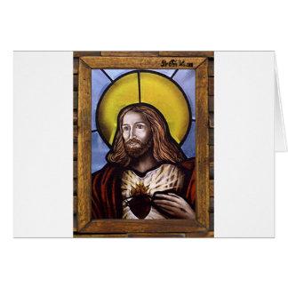JESUS SACRED HEART  WOOD FRAME 20 CUSTOMIZABLE PRO CARD