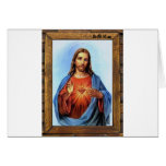 JESUS SACRED HEART  WOOD FRAME 27  CUSTOMIZABLE PR CARDS