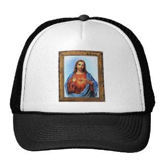 JESUS SACRED HEART  WOOD FRAME 27  CUSTOMIZABLE PR TRUCKER HAT