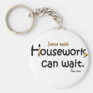 Jesus Said Housework Can Wait Keychain