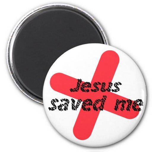 Jesús saved me Rojo negro Imán Redondo 5 Cm