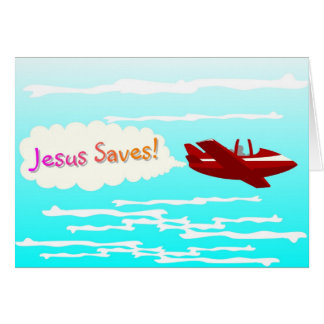 Jesus Saves and airplane in clouds Card