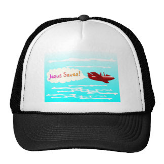 Jesus Saves and airplane in clouds Mesh Hats