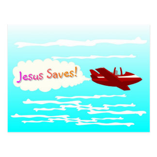 Jesus Saves and airplane in clouds Postcard