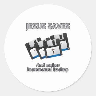 Jesus saves and backups classic round sticker
