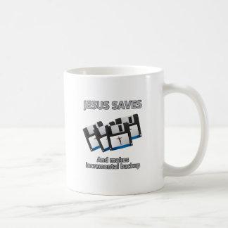 Jesus saves and backups coffee mug