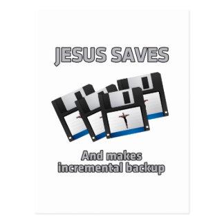 Jesus saves and backups postcard