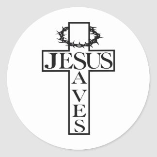 jesus saves black classic round sticker