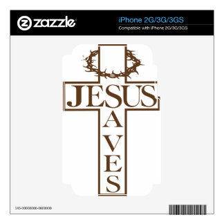 jesus saves brown decal for iPhone 3G