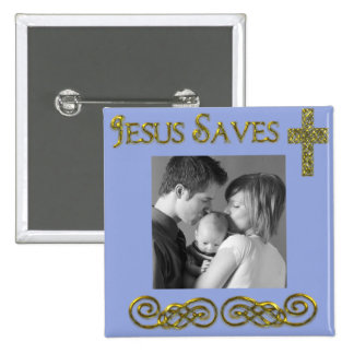 Jesus Saves 2 Inch Square Button