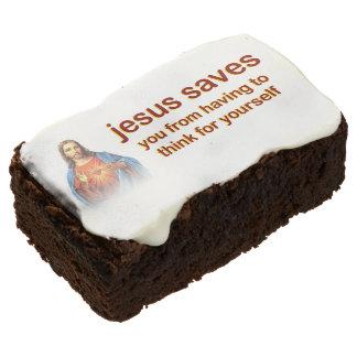 jesus saves chocolate brownie