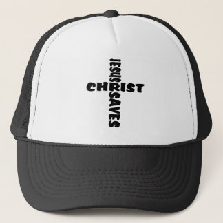 Jesus Saves Cross - black Trucker Hat