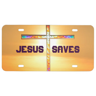 Jesus Saves - cross license plates