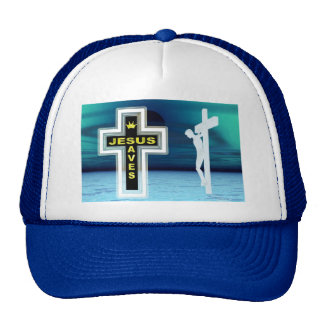 Jesus saves crucifixion picture trucker hat