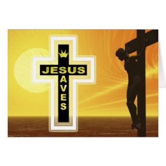 Jesus saves crucifixion picyure greeting card