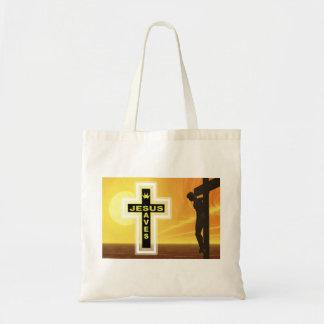 Jesus saves crucifixion picyure tote bag