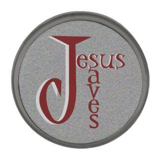 Jesus saves gunmetal finish lapel pin
