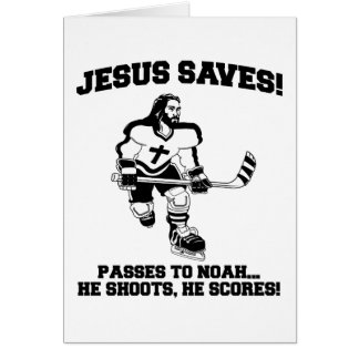 Jesus Saves Hockey funny tshirt Greeting Card