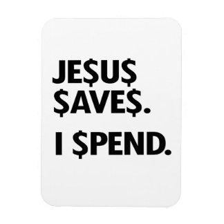 JESUS SAVES - I SPEND RECTANGULAR MAGNET