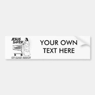 JESUS SAVES ON BLACK FRIDAY -.png Bumper Sticker