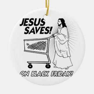 JESUS SAVES ON BLACK FRIDAY -.png Christmas Tree Ornament