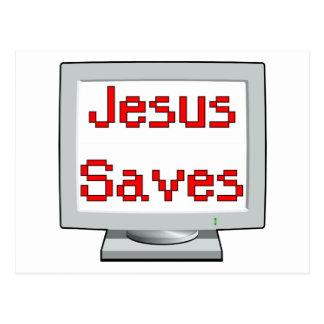 Jesus Saves on computer screen Postcard