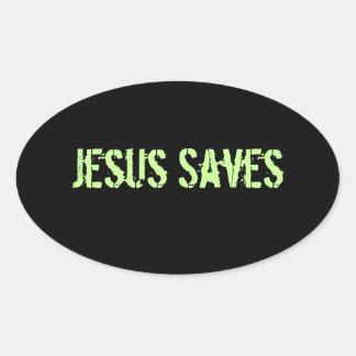 Jesus Saves Oval Sticker