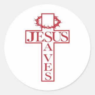 jesus saves red classic round sticker