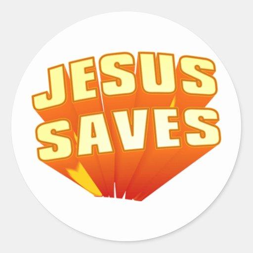 Jesus Saves! Round Sticker