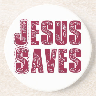 Jesus saves sandstone coaster