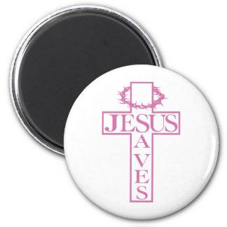 jesus saves soft pink magnet