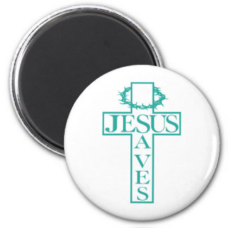 jesus saves teal 2 inch round magnet