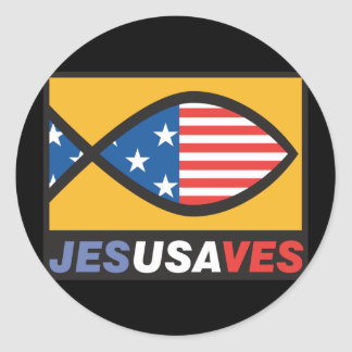 Jesus Saves USA Classic Round Sticker