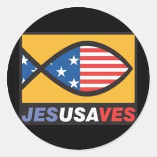 Jesus Saves USA Stickers