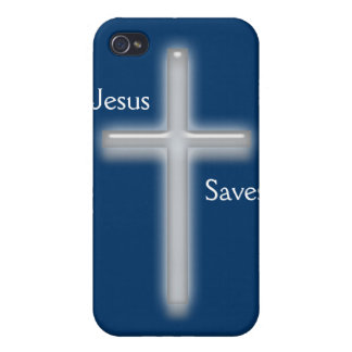 Jesus Saves-White Cross iPhone 4 Covers