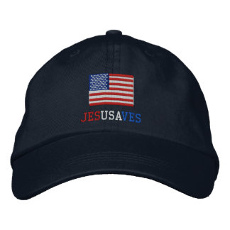Jesus Saves with American Flag Embroidered Baseball Cap