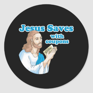 JESUS SAVES WITH COUPONS ROUND STICKERS