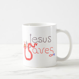 Jesus Saves Worm & Hook Mug