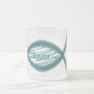 Jesus Savior Christian Fish Symbol Frosted Glass Coffee Mug