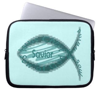 Jesus Savior Christian Fish Symbol Laptop Computer Sleeve