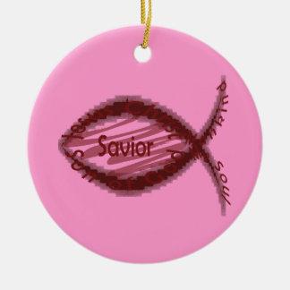Jesus Savior Christian Fish Symbol Christmas Tree Ornaments