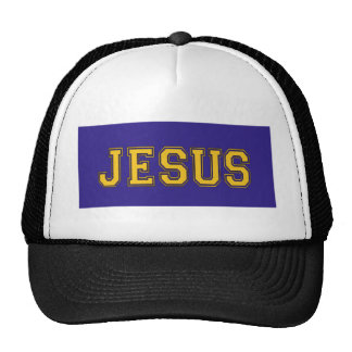JESUS School Colors Gold Dark Blue Trucker Hat