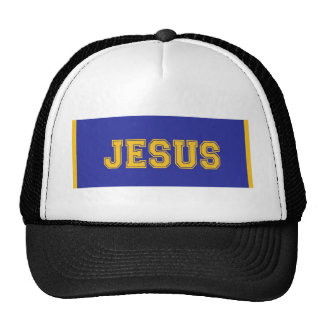 JESUS School Colors Gold Royal Blue Trucker Hat