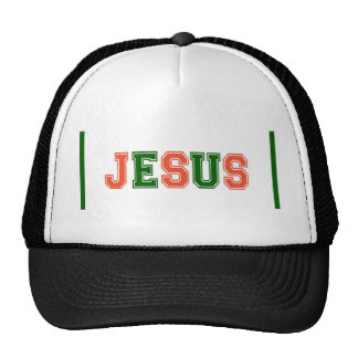 JESUS School Colors Orange Green Trucker Hat