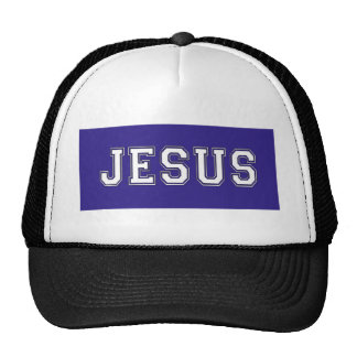 JESUS School Colors White Deep Blue Trucker Hat