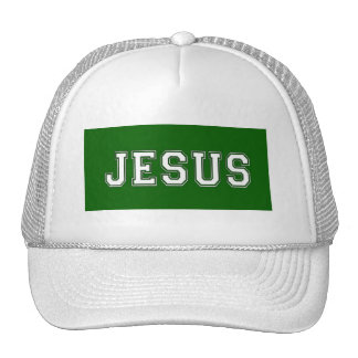 JESUS School Colors White Green Trucker Hat
