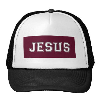 JESUS School Colors White Maroon Trucker Hat